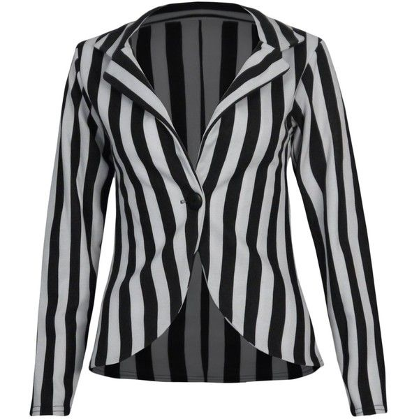 Black And White Striped Blazer ❤ liked on Polyvore featuring outerwear, jackets, blazers, tops, striped blazer, stripe blazer, black and white striped blazer, black and white jacket and black and white striped jacket