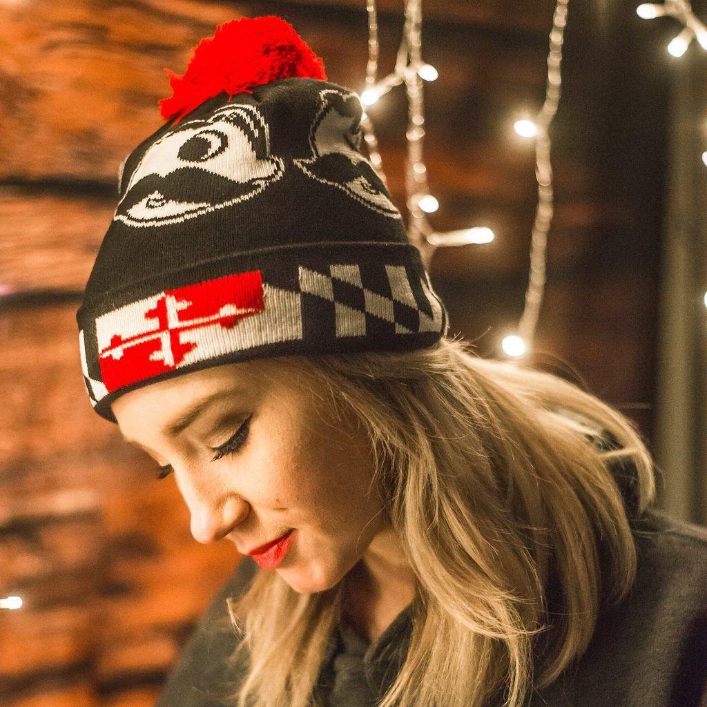 7a260ba910a Embroidered Maryland Full Flag Crab (Black)   Slouchy Knit Beanie Cap   Beanies-+-Ski-Hats  bulk-hide  Maryland