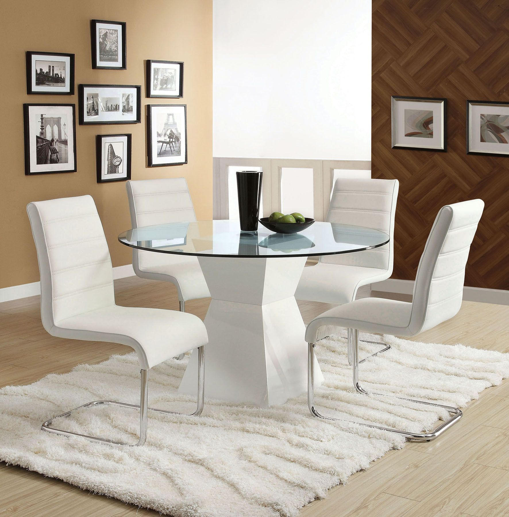 Cm8371t Mauna White Glass Round Dining Table 4 Chairs Glass Top Dining Table Round Dining Room Glass Round Dining Table