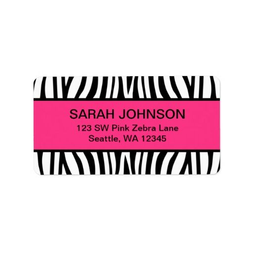 Pink And Black Zebra Label