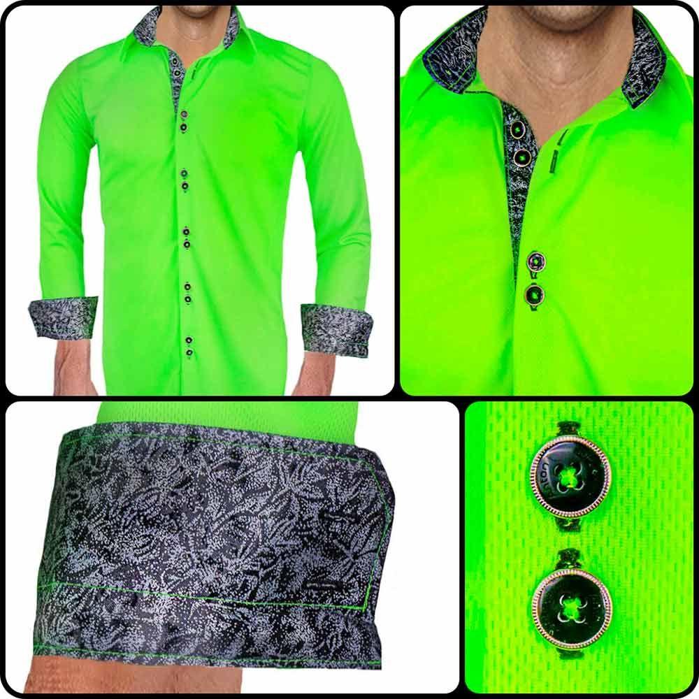 Mens Neon Green Dress Shirt This Dress Shirt Glows In The Dark