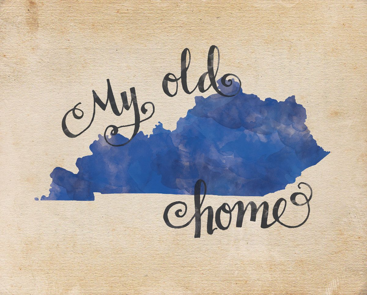 My Old Kentucky Home Hand Lettering Digital Print Quote Print State Art Gift For Her Gift For Him Canvas Print