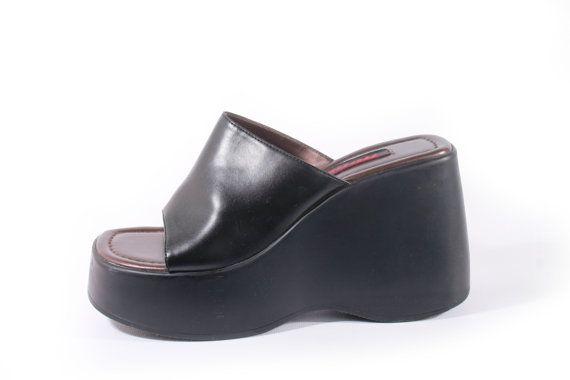 90s vintage black platform shoes