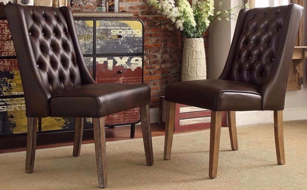Brown bonded leather tufted wingback hostess accent dining