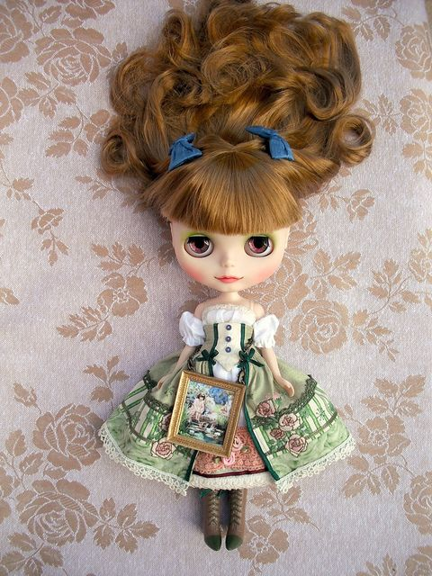 "All custom work and clothes made by me for this blythe doll totally inspired by ""Le jardin de Maman""."