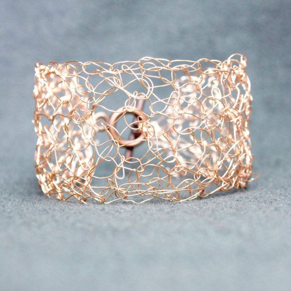 Rose Gold Cuff - Wire Crochet Bracelet - Boho Bridal Bracelet - Rose ...