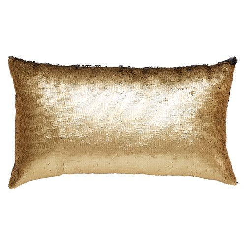 KIM Cushion in reversible sequins gold and black 50 x 30 cm