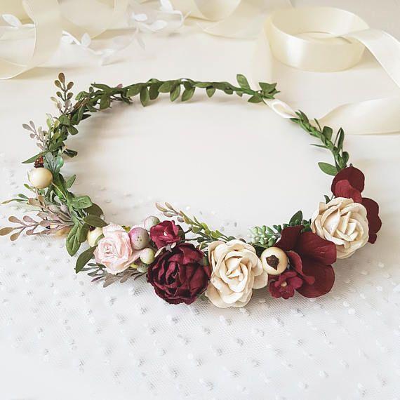 Blush Pink Burgundy Beige Flower Crown Burgundy Floral Weddingcrowns Bridal Flower Crown Flower Crown Headpiece Wedding Crown