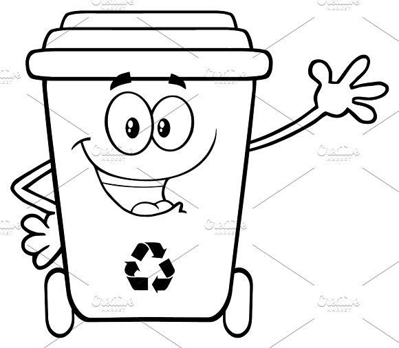 Black And White Happy Recycle Bin In 2020 Recycling Bins