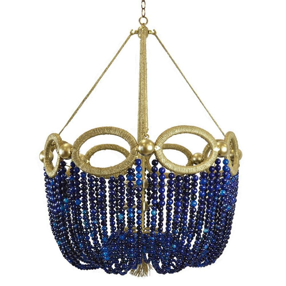 Fiona Beaded Chandelier Navy Agate Beads Beaded Chandelier Ro Sham Beaux Chandelier