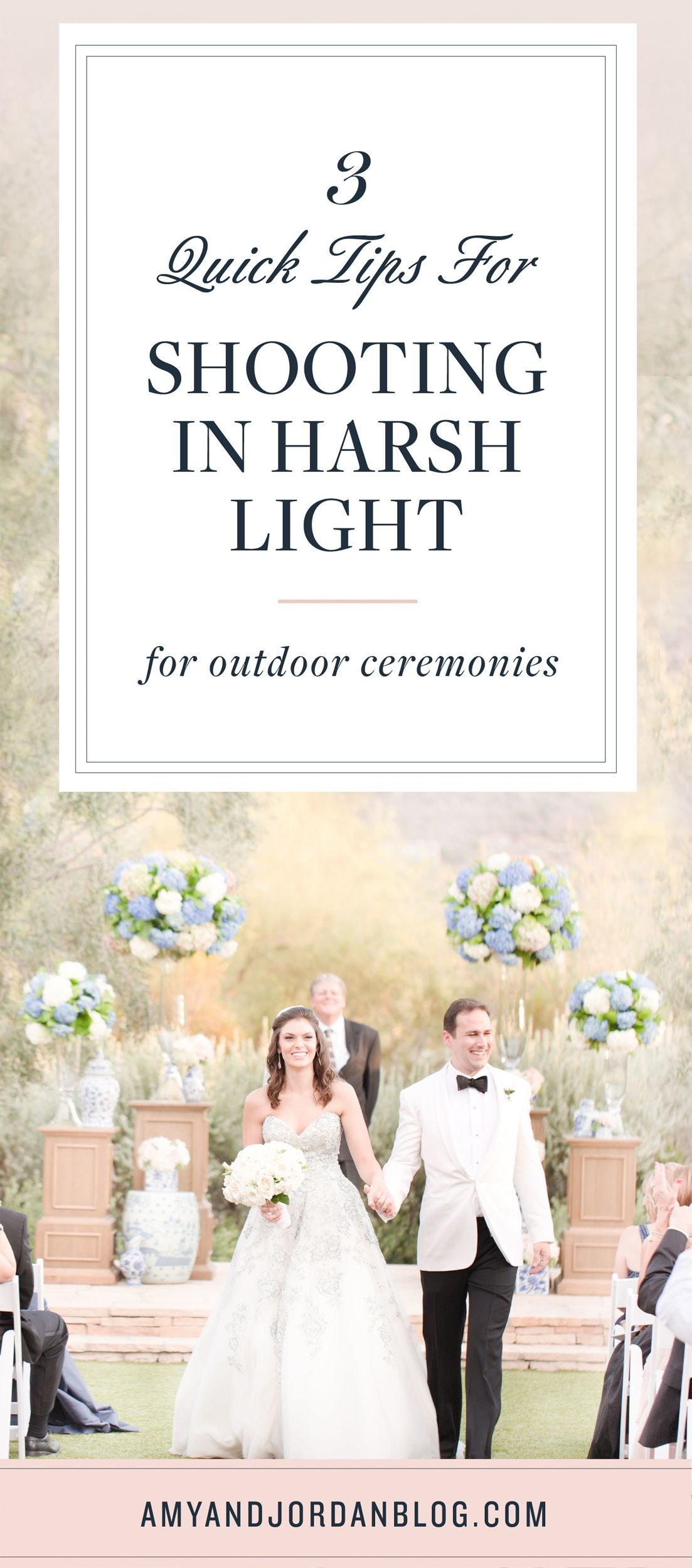 Outdoor Ceremonies in Harsh Light If you've EVER shot an outdoor wedding ceremony before, you know that sometimes the light isn't ideal! In fact, a lot of times, it can be REALLY harsh! Especially when the bride is first coming down the aisle! We'll teach you our three quick tips for shooting outdoor ceremonies in harsh light that should hopefully ma