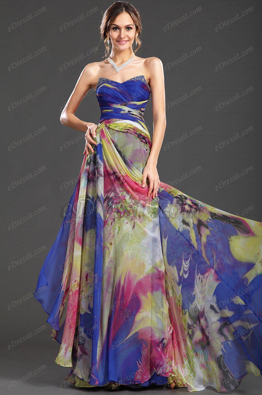 Edressit cariñoso sin tirante estampado vestido de fiesta largo