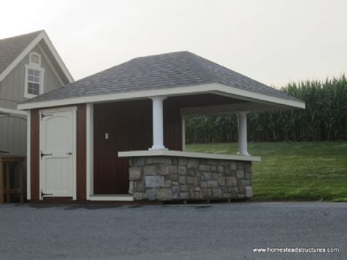 12 X 12 Siesta Poolside Bar With 4 Roof Overhang Duratemp Siding Pool Houses Backyard Patio Outdoor Cabana