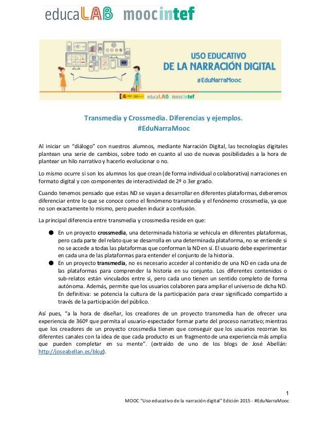 Transmedia Y Crossmedia Diferencias Y Ejemplos Lengua Y Literatura Historia Digital Textos Narrativos