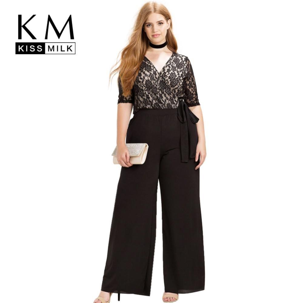 553385f0 Kissmilk Women Plus Size Casual Black Surplice Wrap Lace Patchwork ...