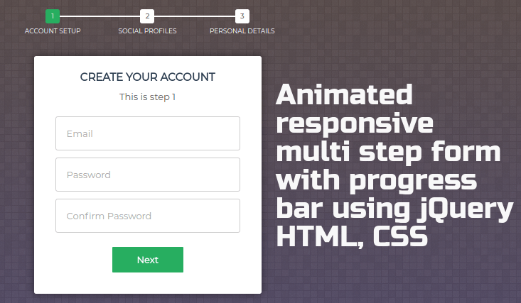 Create animated responsive multi step form with progress bar using