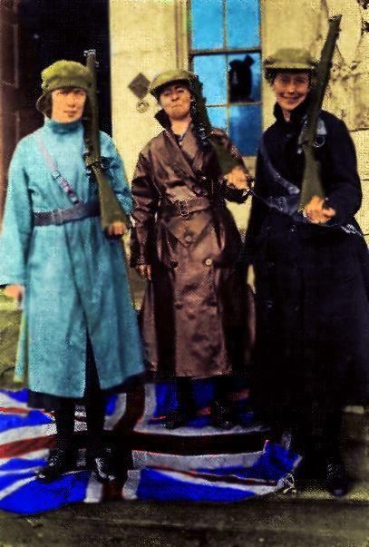 Cumann na mBan with the Union Jack at the bottom of one's own feet! Linda Kearns, Eithne Coyle and Mary (Mae) Burke