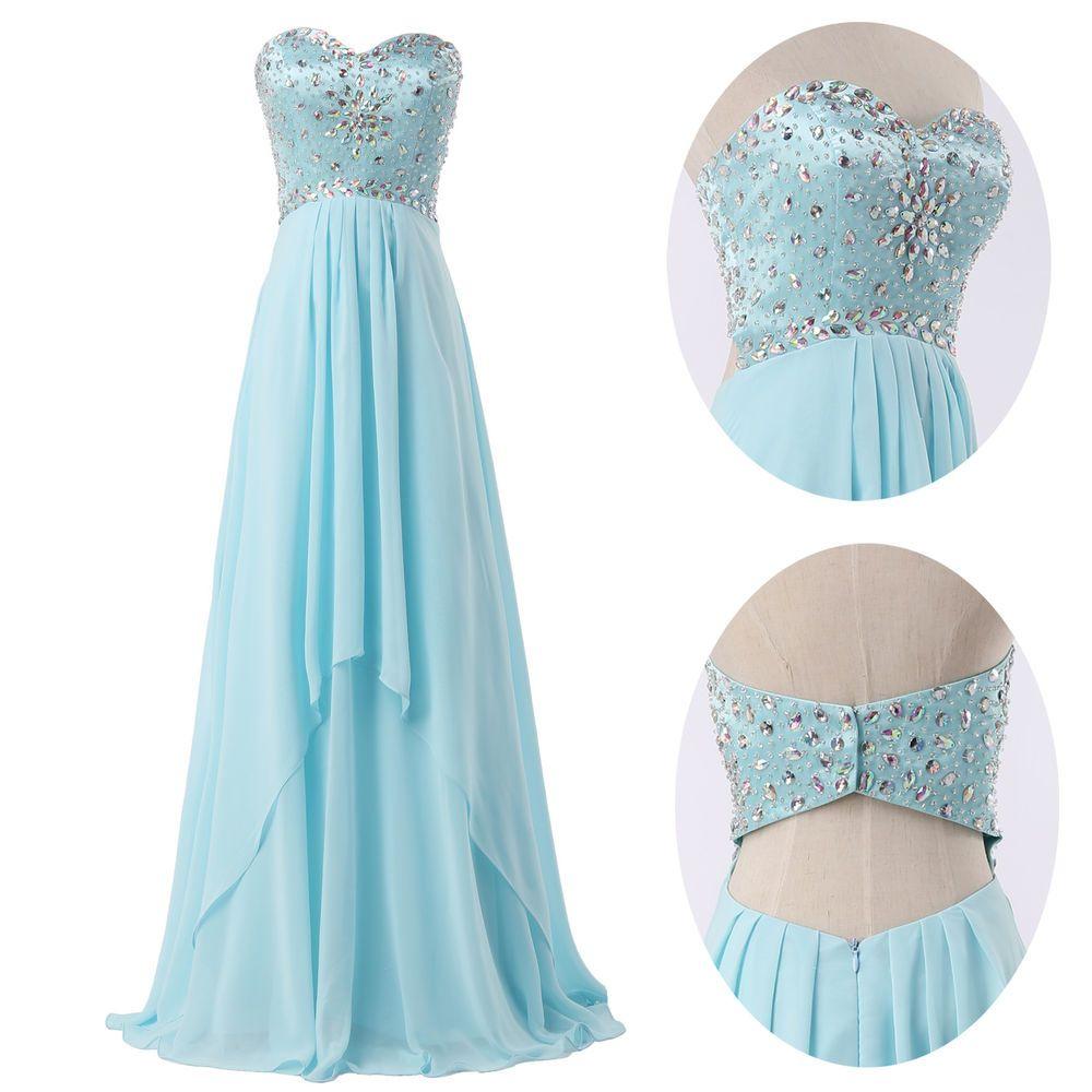 Sexy beaded long ball grad quinceanera dress evening prom bridesmaid