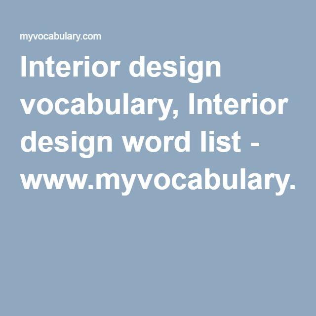 Interior design vocabulary, Interior design word list - fresh blueprint design career