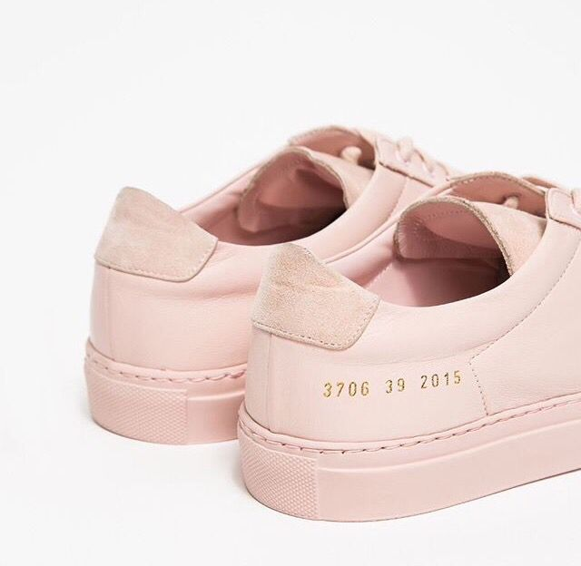 2a149fbff262 Premium low top sneaker from Woman by Common Projects in Blush. Smooth  leather upper with suede insets. Lace-up front with flat laces. Leather  lining.