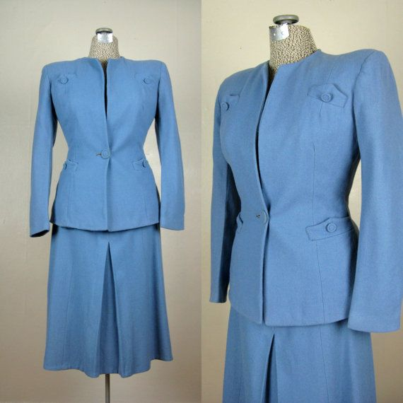 Vintage 1940s Blue Wool Suit 40s French Blue by TravelingCarousel