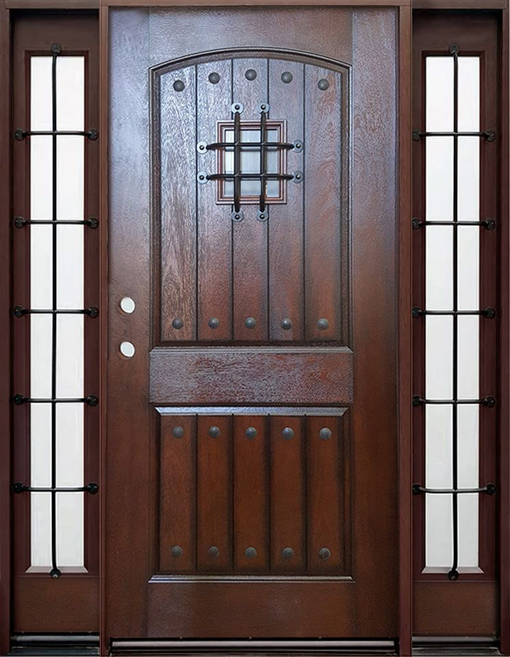 Old World Gate Keeper Entry Door And Sidelites Entry Doors Rustic Entry Doors Fiberglass Entry Doors
