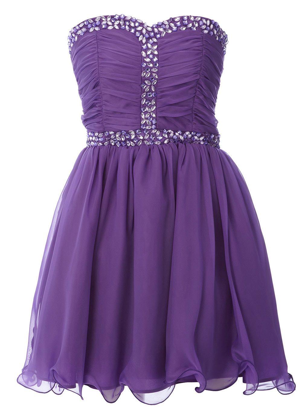 Purple Silky Chiffon Gem Trim Dress - prom dresses - dresses - older ...
