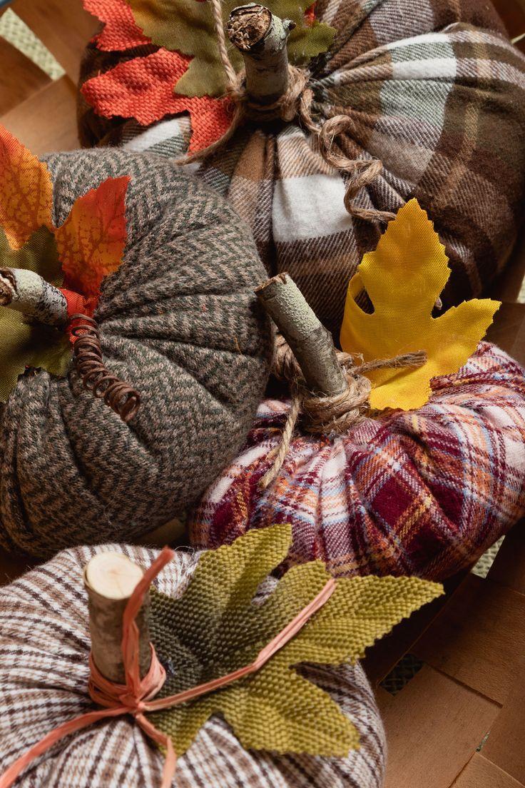 Easy Sew Fabric Pumpkins, thirft store shirt pumpkins how to make tutorial