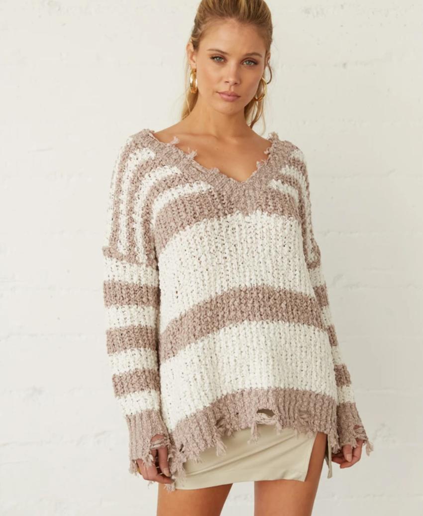 Whitney Distressed Striped Popcorn Sweater