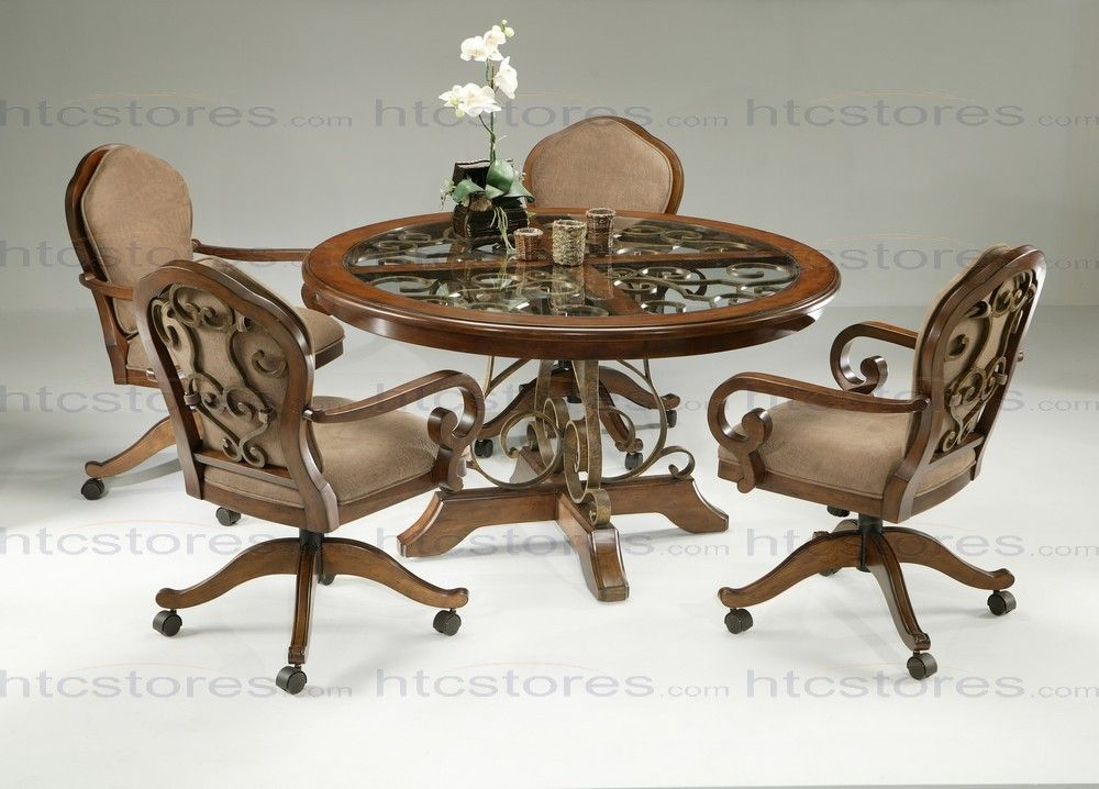Pastel Furniture Carmel 5 Piece Round Wood With Glass Insert Dining Set Caster Chairs
