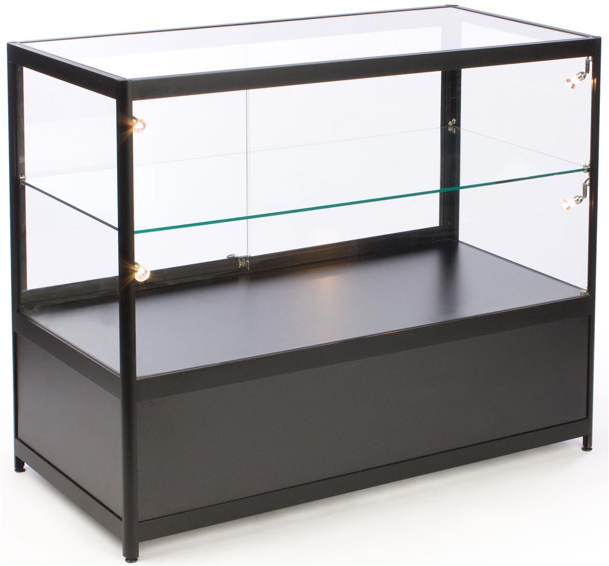 48 Retail Display Case W Cabinet Side Lights Slider Door Ships Assembled Black Retail Display Cases Glass Cabinets Display Display Case