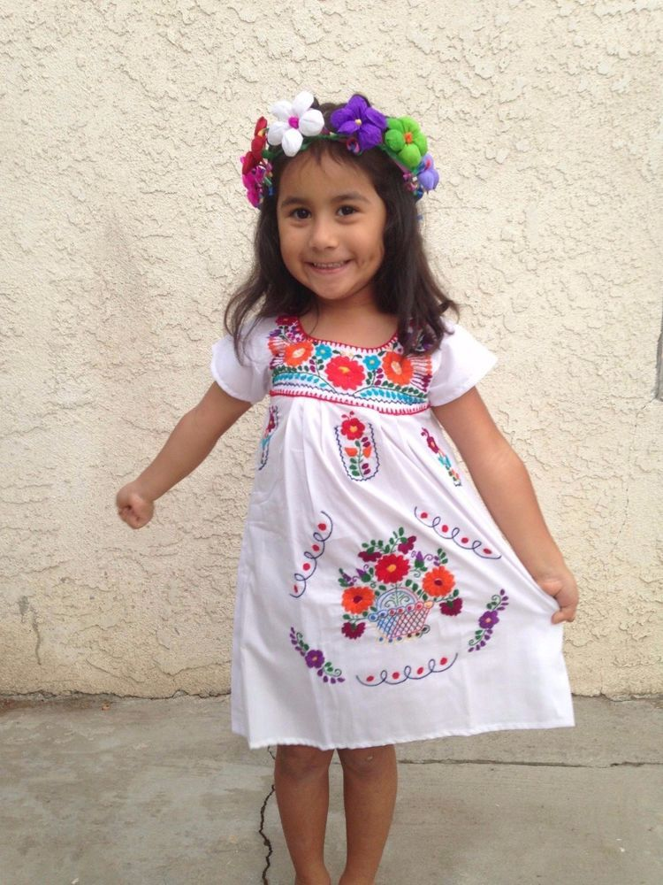 92a36f422e2 Mexican Girl Children Embroidered Dress 5 De Mayo