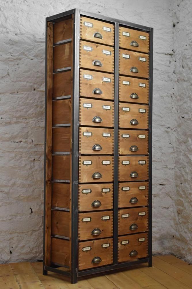 1 von 3 Schubladenschrank Metall Schrank Groß Antik Werkstattschrank ...