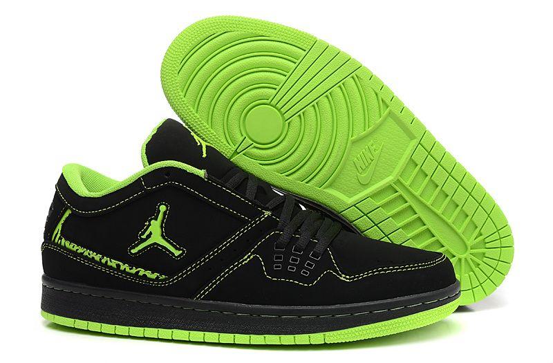 42e5434ffeb8 Jordan 1 Flight Low Black Neon Green Hot Sale