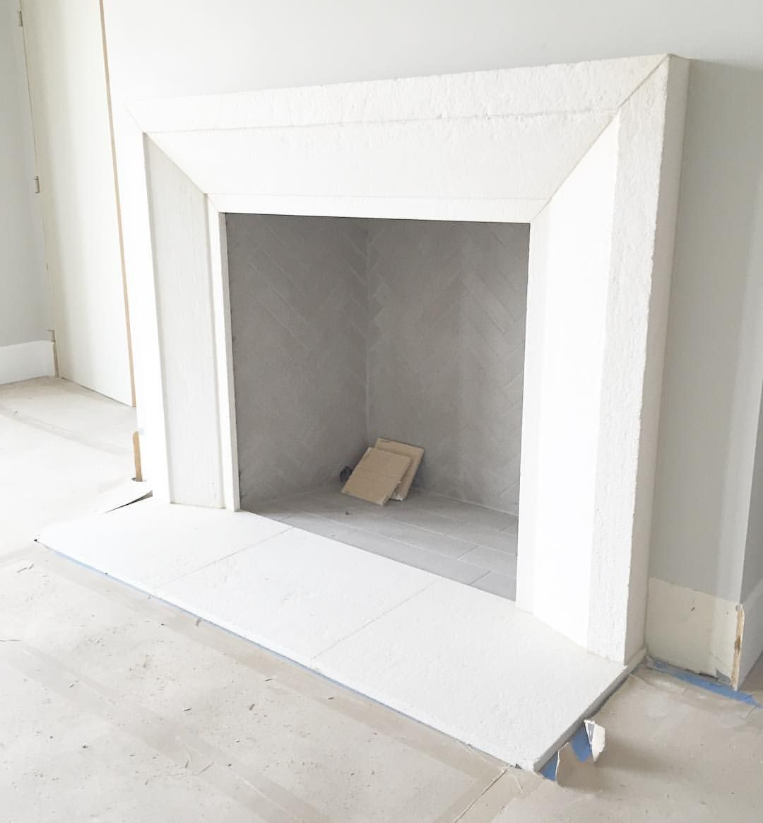 Clean Lines On This Custom Modern Tumbled Limestone Fireplace