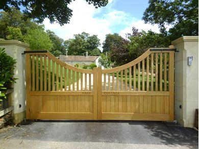 Croft C3 Wooden Driveway Gates Concave Top 400mm Drop Timber Bars Wooden Gates Driveway Wooden Gates Wood Gates Driveway