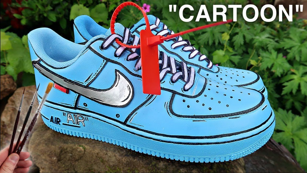 Custom CARTOON Off White Air Force 1's! YouTube (With