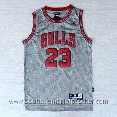 maillot nba pas cher Chicago Bulls Jordan  23 Gris mesh tissu ... bab73e196f03