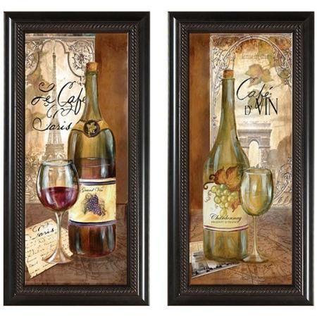 Set Of 2 Paris Wine Wall Art Wine Decor Kitchen Grape Kitchen Decor Kitchen Decor Themes