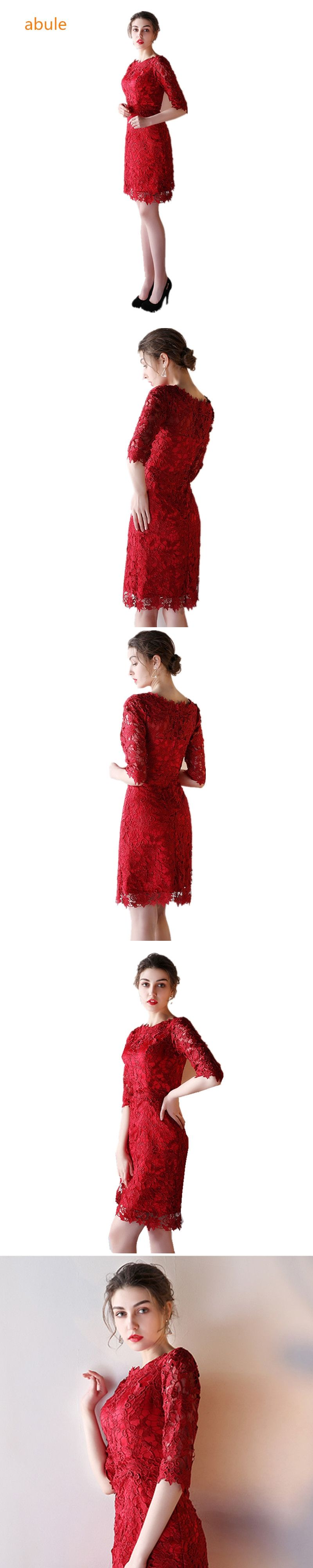 Abule red wine evening dresses lace up oneck half sleeve lace tulle