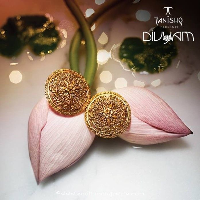 Gold Earrings Design From Tanishq Divyam Collections | Tanishq ...