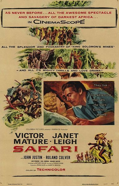 SAFARI (1956) - Victor Mature - Janet Leigh - John Justin - Roland Culver - Directed by Terence Young - Columbia - Movie Poster.