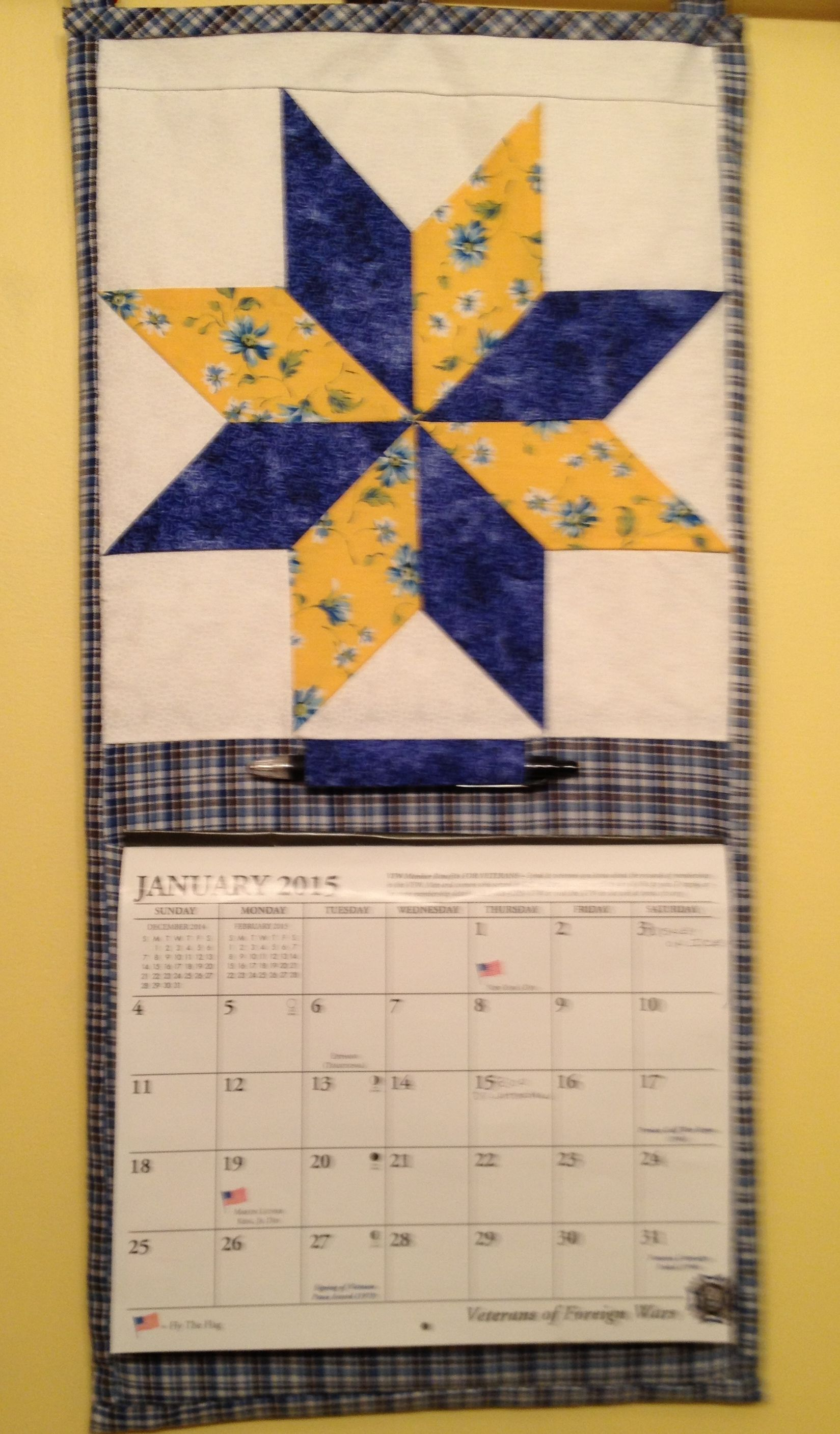 Handy wall hanging for my month by month calendar using the Eight-Point Star Quilt Block by Edyta Sitar.  Check the block out on YouTube