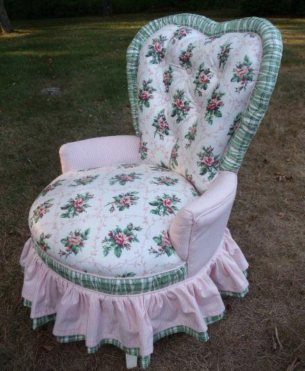 Vintage upholstered sweetheart slipper chair