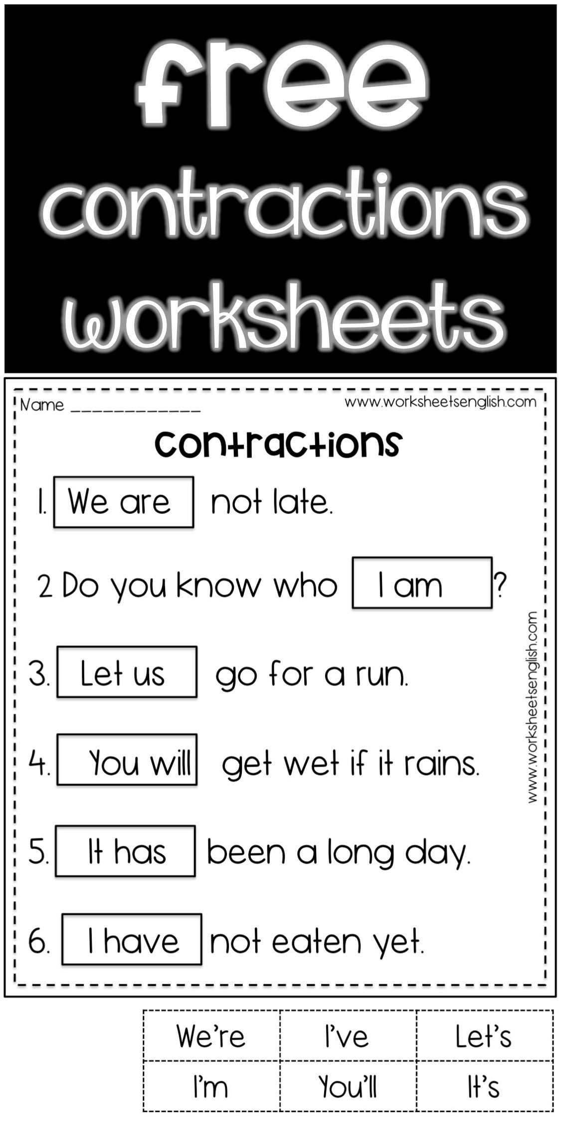 contractions in english FREE www.worksheetsenglish.com in 2021   Contraction  worksheet [ 2249 x 1125 Pixel ]