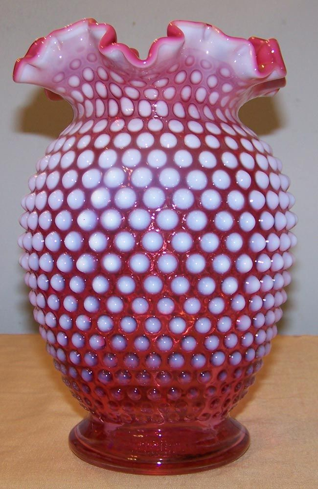 Fenton Cranberry Opalescent Hobnail Vase 85 Inches Tall By Cousins