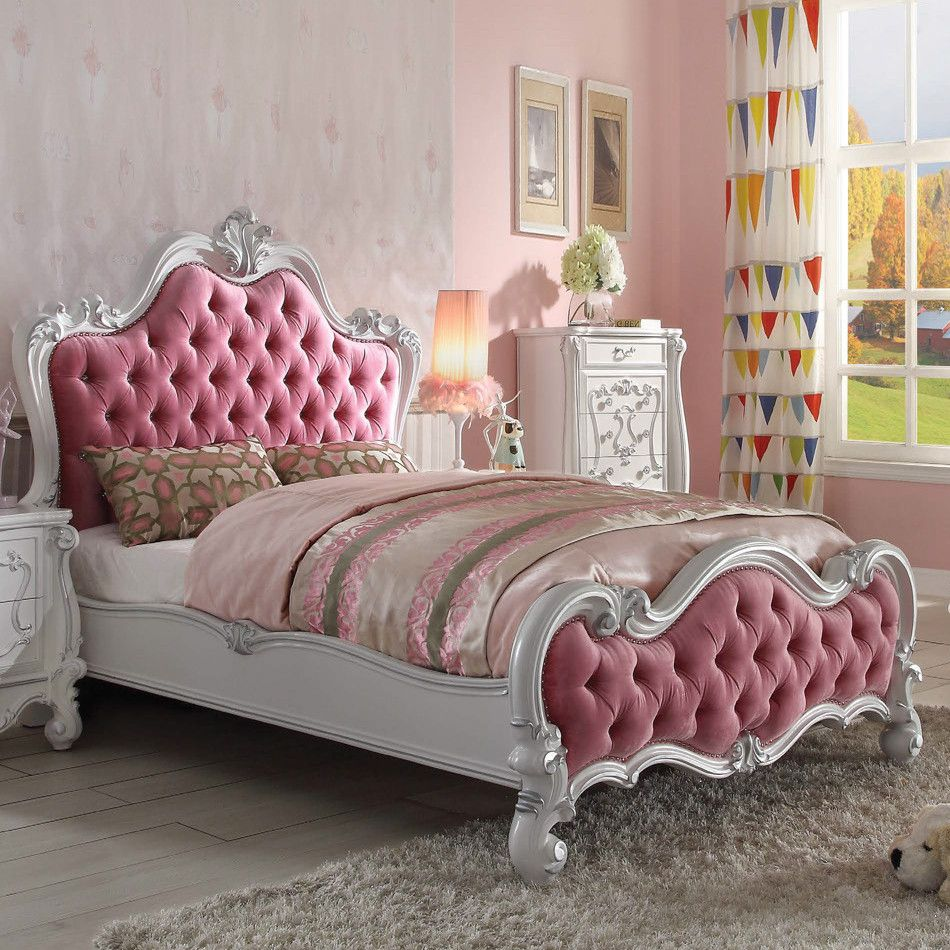 Acme Furniture 30650q Versailles Queen Bed Tufted Pink Fabric Antique White Bed In Living Room Home Decor Furniture