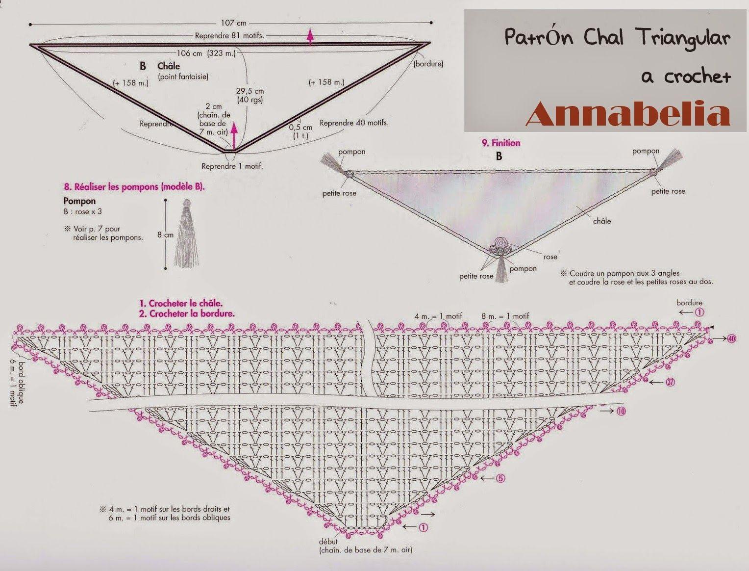patrón chal triangular a crochet | Tricot | Pinterest | Croché y ...