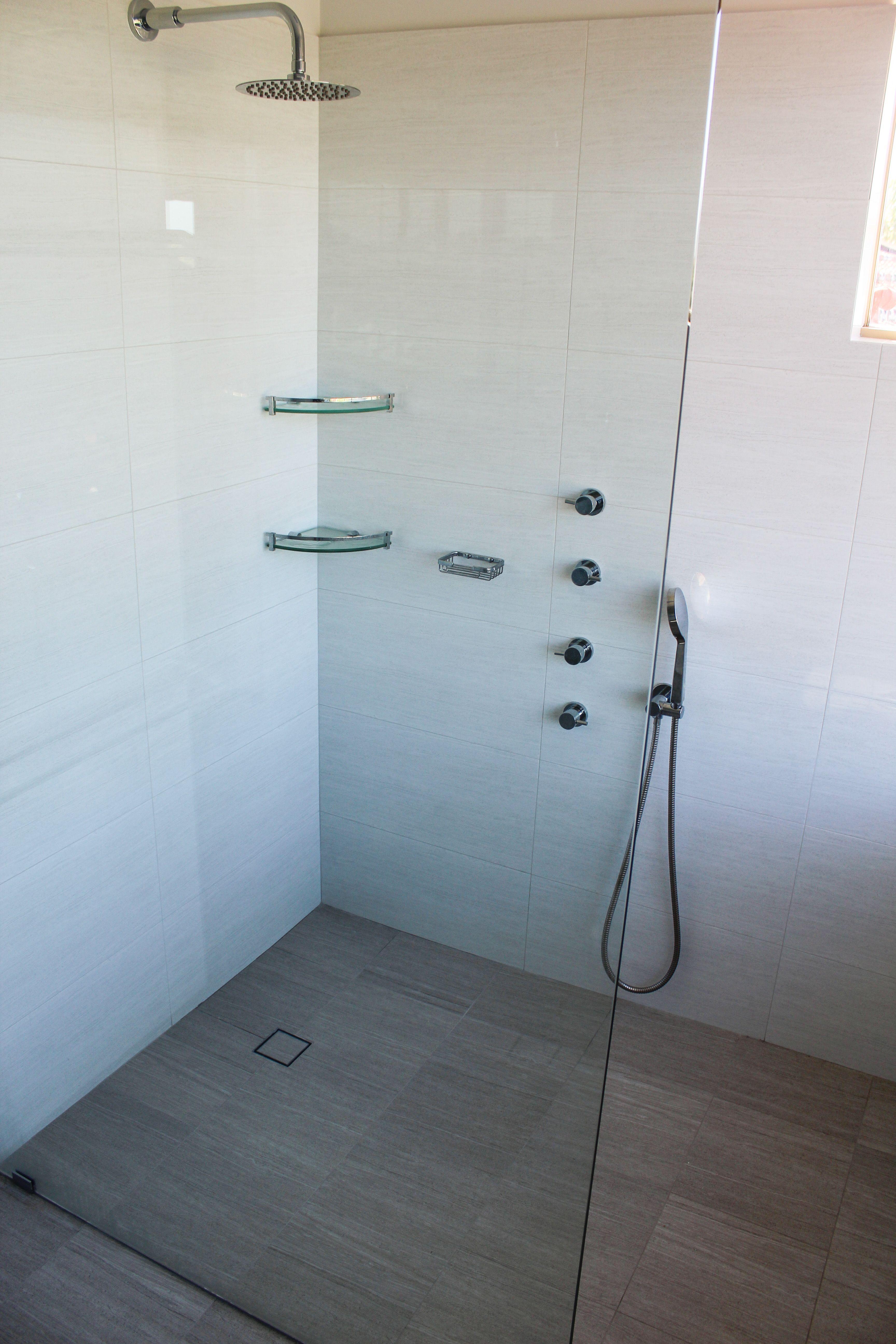 Open Shower - Frameless Fixed Panel - Walk In Shower - Large Walk In ...