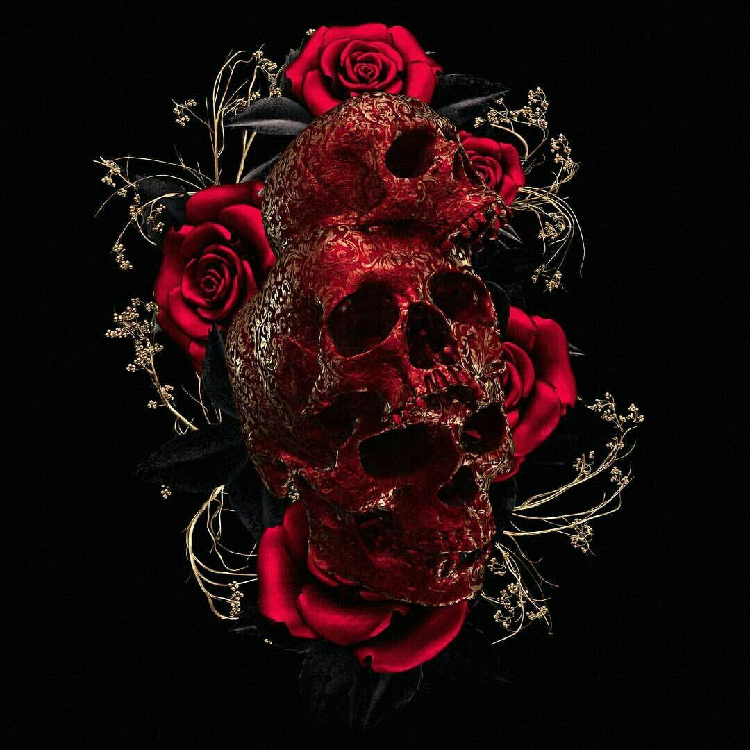 Фото на аву череп с розой